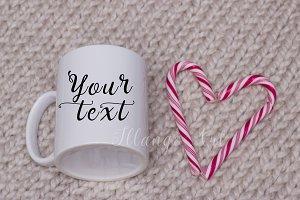 """Mug mockup with candy heart """"SALE"""""""