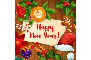 New Year holiday greeting card