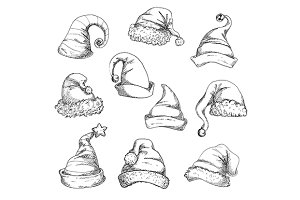 Santa hats vector pencil sketches