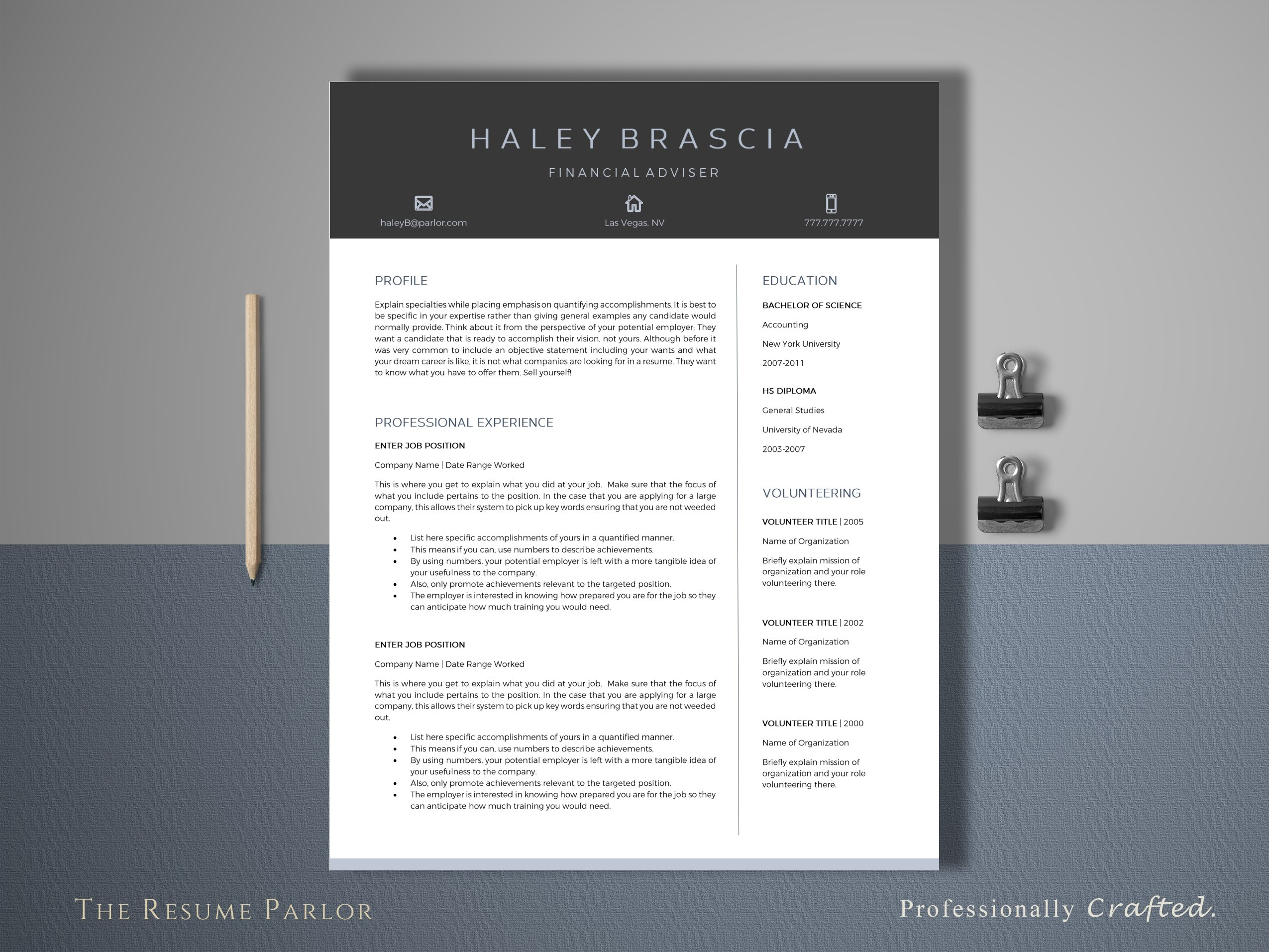 Resume Template 4 Page | Finance CV ~ Resume Templates ~ Creative Market