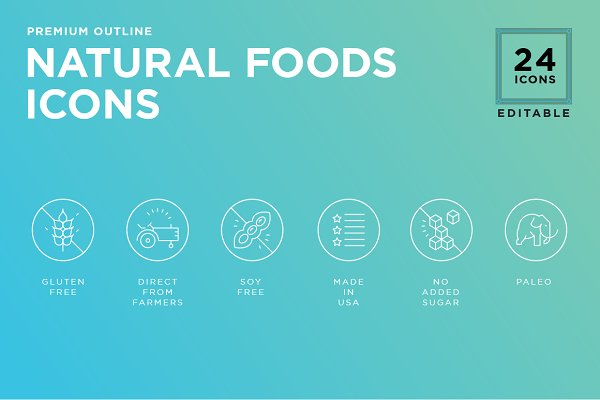 Essential Food value icon set