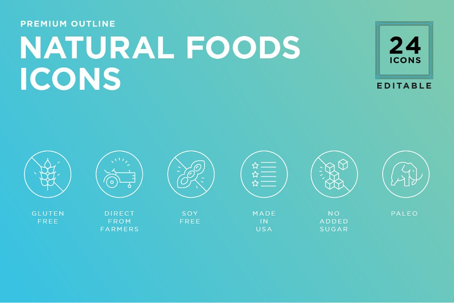 Essential Food value icon set