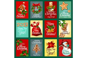 Christmas or New Year greeting cards