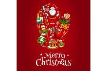 Christmas card of mitten symbol