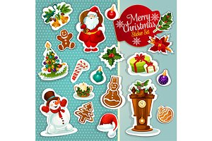 Christmas sticker icons set