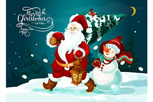 Santa Claus and snowman with pine