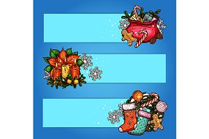 Christmas gift and wreath banners
