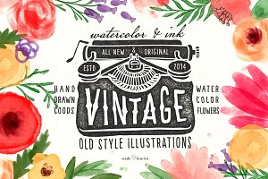 Vintage objects & watercolor