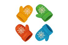 Winter Mittens Colorful Set