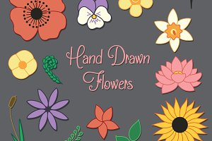Hand Drawn Flowers Set
