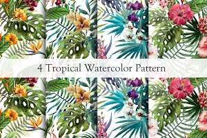 Set of Tropical Floral Patterns