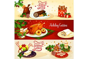 Christmas holiday cuisine banners