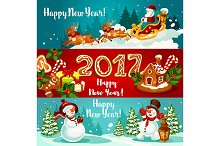New Year banners with Santa