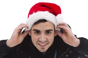 young man with santa hat