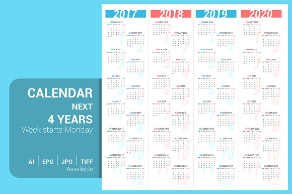 calendar for next 4 years stationery templates creative market