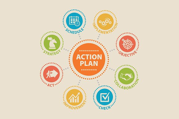 ACTION PLAN. Concept with icons. - Icons