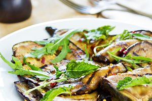 Grilled Aubergine with Rocket salad