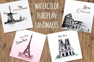 Set 4 Watercolor European landmarks