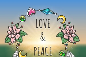 Love and Peace emblem boho style
