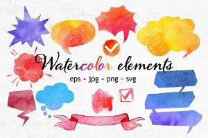 Watercolor elements set