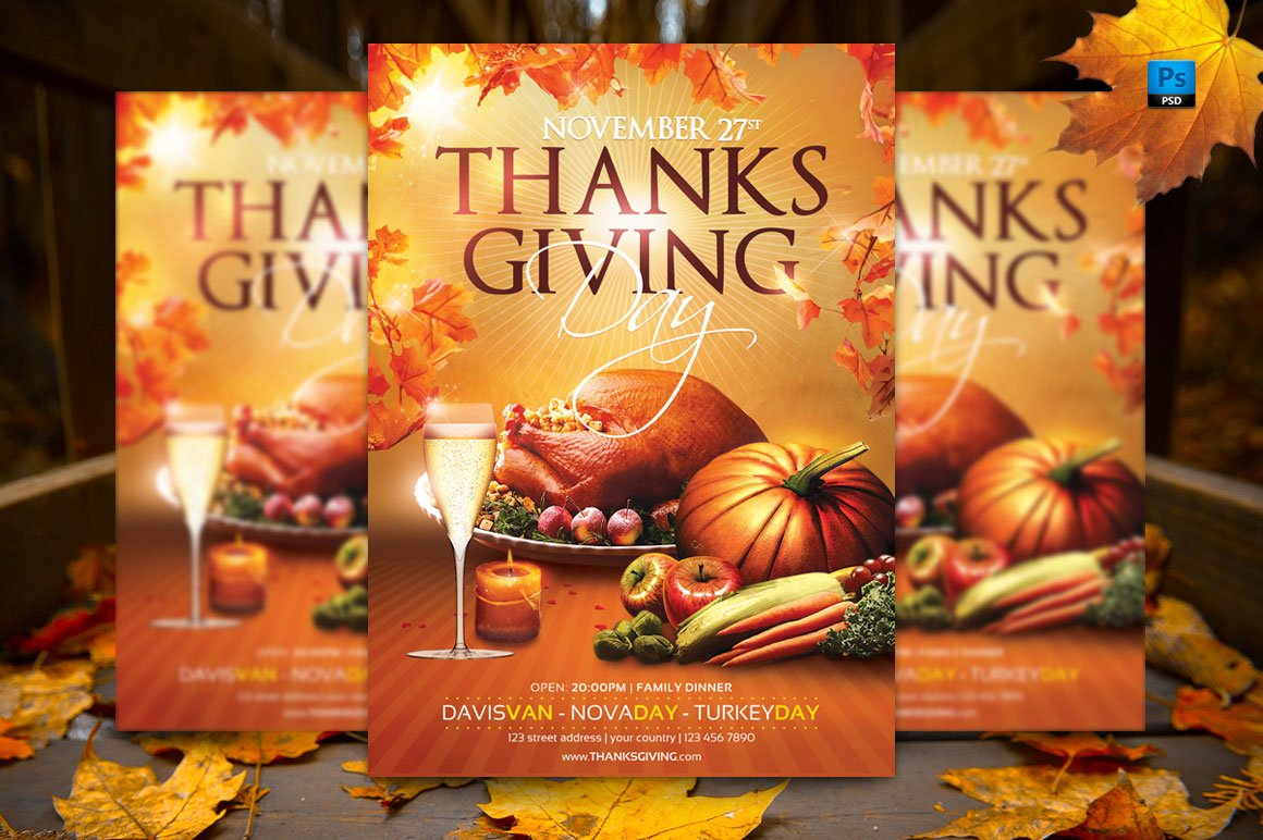 Thanksgiving Day Flyer Template Creative Photoshop Templates Creative Market