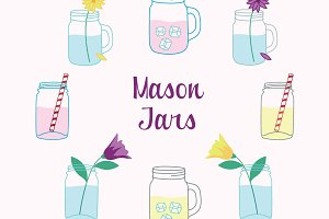 Mason Jars Clipart Vector Set