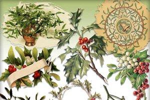 Holly & Mistletoe Vintage Elements