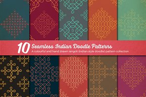 10 Seamless Indian Doodle Patterns