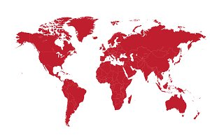 World map red with borders