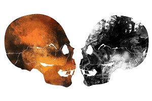 Two old abstract skull