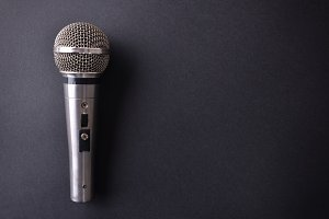 Mic on black table top view