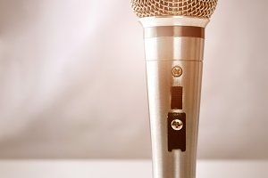 Mic with golden light vertical