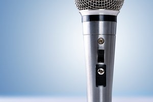 Mic standing and blue background
