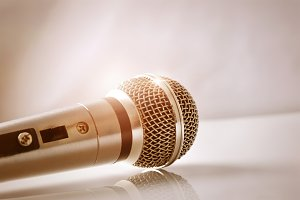 Mic with golden light close up