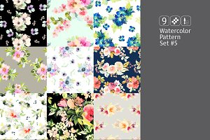 9 watercolor seamless patterns #5