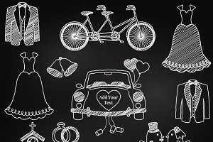 Chalkboard Wedding Clipart & Vectors