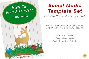 Golden Reindeer Social Template Set