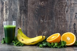 Smoothie with kale,banana and orange