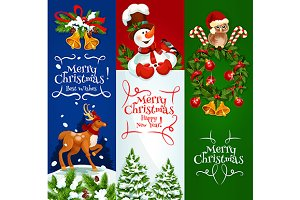 Christmas, New Year banners set