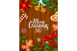 Merry Christmas wooden poster