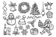 Winter holidays symbols sketches