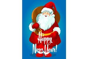 Santa Claus with big gifts bag