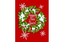 Fir wreath greeting card