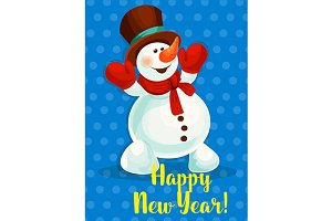 Snowman Happy New Year card