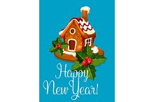 New Year vector greeting poster