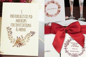 3 photorealistic invitations mockup