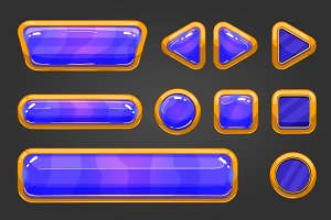 Set of game interface button color