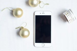 Christmas iphone Stock Photo Gold