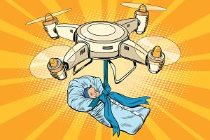 Drone delivery of a newborn baby