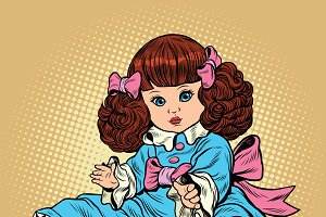 Beautiful retro girl doll